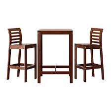 table with 2 stools äpplarö bar table and 2 bar stools brown stained ikea
