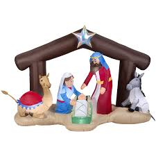 Lowe S Canada Outdoor Christmas Decorations by Shop Gemmy 5 51 Ft Lighted Nativity Christmas Inflatable At Lowes