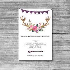 50th Birthday Invitation Cards Boho Bohemian Antlers 30th 21st 40th 50th Birthday Invite