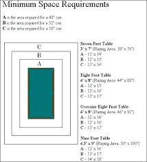 average pool table dimensions average pool table size height of light off pool table height of