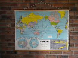 Canvas Map Of The World by Vintage Classroom Map Of World Circa 1950 U0027s Antique Canvas