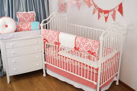 Shabby Chic Crib Bumper by Shabby Chic Crib Bedding In Bright Coral Damask Fabric Have You