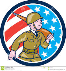 World War 2 Us Flag World War Two Soldier American Marching Cartoon Circle Stock