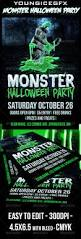 monster halloween party flyer green fonts and halloween