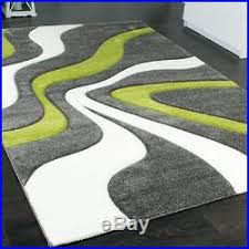 Modern Green Rug Modern Abstract Rug Lime Green Grey White Thick Floor Carpet Small