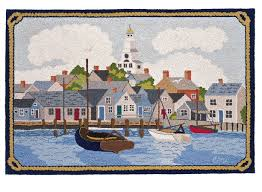 nantucket harbor cat boats hand hooked rug claire murray