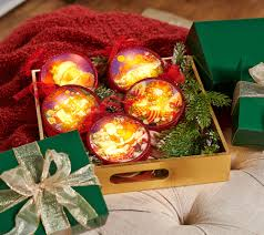 set of 5 illuminated ornaments with gift boxes by valerie page 1