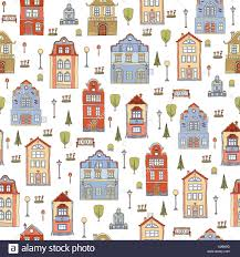 seamless pattern with small town houses vector cute decorative