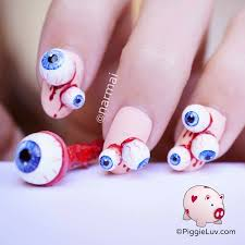 piggieluv eyeballs nail art for halloween