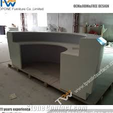 half round shape design corian acrylic solid surface shop counter