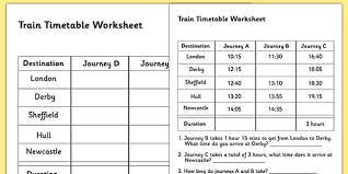 train timetable worksheet timetables reading timetables