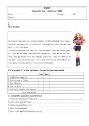 english teaching worksheets diagnostic tests