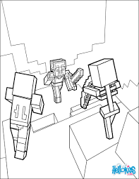 dangerous dungeon fights coloring page from minecraft video game