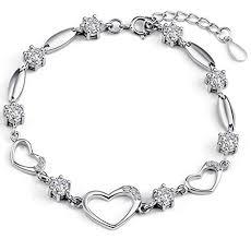 bracelet silver chain images Sterling silver bracelet women heart hand chain authentic crystal jpg