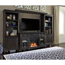 entertainment center w fireplace insert u0026 small bluetooth speaker