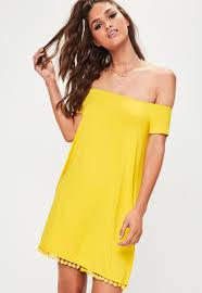 yellow dress yellow bardot pom pom swing dress missguided