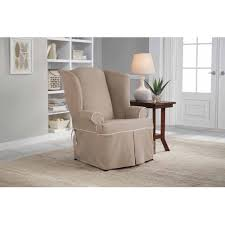 chair slipcovers t cushion serta relaxed fit twill furniture slipcover wingback chair 1