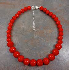 round beads necklace images Statement necklace red chunky necklace round bead necklace red jpg