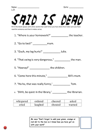 alternative words for said differentiated sheets by joe russ