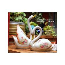 home decor ornaments country style vintage ceramic swan