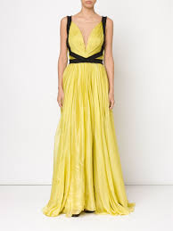 Lane Bryant Formal Wear Maria Lucia Hohan Plunge Neck Silk Gown In Yellow Lyst