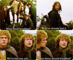 Second Breakfast Meme - keep calm and eat running with spoons