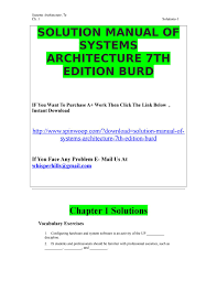 solution manual of systems architecture 7th edition burd by