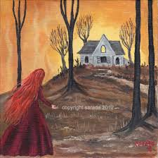 haunted house spooky autumn halloween art 8 x 8 print redhead
