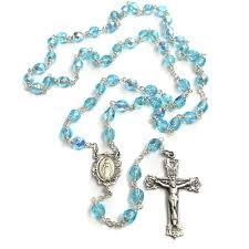 birthstone rosary bohemian glass birthstone rosary aqua march the catholic company