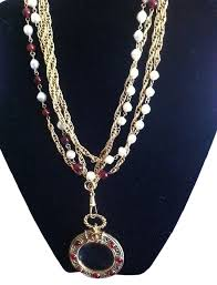 long double necklace images Chanel red pearl long double strand with pearls red gripoix and jpg