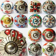 glass antique door knobs artisan ceramic knob door handles pull hippy arty multi coloured