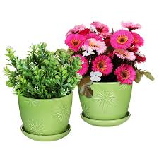 Design Flower Pots Amazon Com Set Of 2 Decorative Green Daisy Burst Design Ceramic