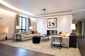 Contemporary Family Room Design Stone Fireplace Window Glass White - Contemporary family room design