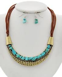 turquoise necklace silver chain images Silver gold turquoise stone brown suede necklace jpg