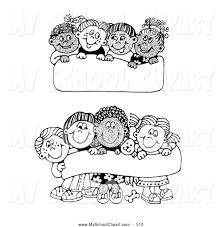 clip art of a black and white coloring page of two scenes of