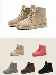 s ugg ankle boots with laces casual s flat lace up fur lined winter martin boots