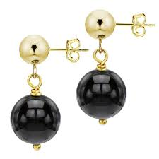 black dangle earrings davonna 14k yellow gold with 8mm black black onyx stud dangle