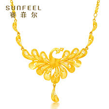 big gold necklace set images Safir gold necklace female section gold 999 9 fenghua peacock rich jpg