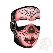 muerte sugar skull roses spider web neoprene mask atv