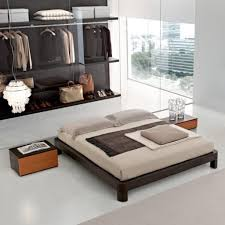 exclusive wardrobe design with amazing wooden platform bed for