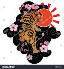 traditional japanese tiger tattootiger sticker stock vector