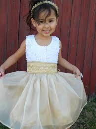 white and gold flower dress for little 2292024 weddbook
