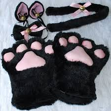 Halloween Costume Cat Ears Halloween 1set Cat Ears Plush Paw Claw Gloves Tail Bow Tie Anime