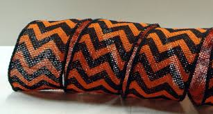2 1 2 inch wired ribbon black u0026 orange burlap chevron ribbon