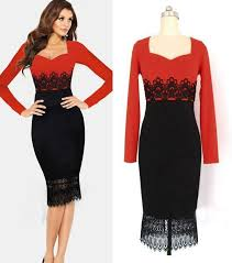 new red black casual dress women tunic bodycon ol lace patchwork