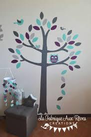 chambre enfant m stickers arbre gris violet turquoise caraïbe aqua hibou chouette