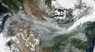 Wild Fires In Oregon State by Wildfire Smoke Crosses U S On Jet Stream Nasa