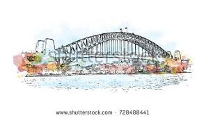 watercolor sketch sydney harbour bridge australia stock vector