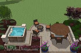 Backyard Patio Design With 445 Sq Ft Our Tub Patio Design With Seat Walls
