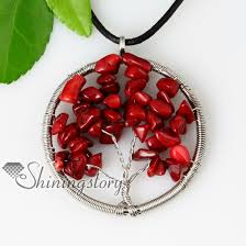 red necklace pendant images Heart oblong semi precious stone red coral necklaces pendants jpg
